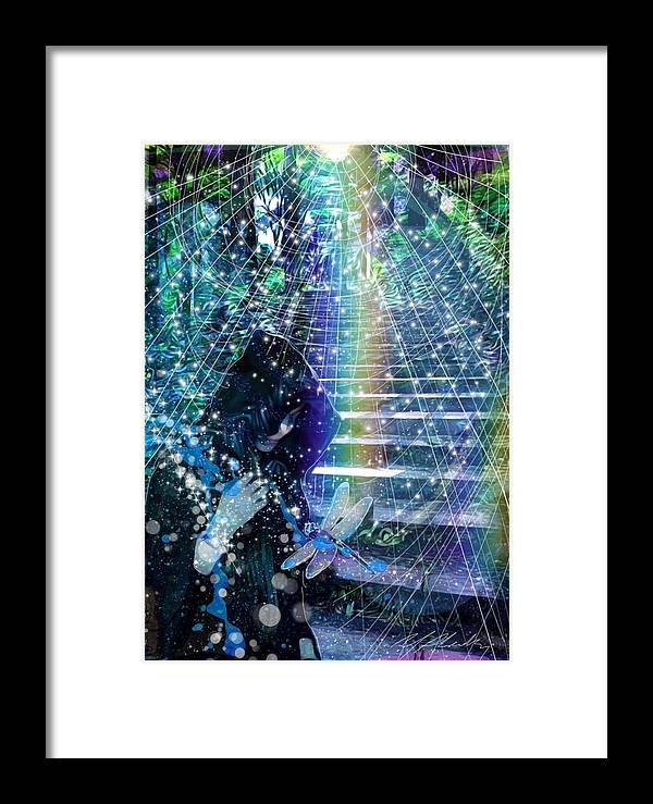 Dragonfly Change Realization Maturity Understanding Meaning Life Rainbow Stairs Stairway Passage Achieve The Goal Bridges Obstacle Enlightenment Light Stars Celtic Animism Druid Druidry Forest Trees Framed Print featuring the mixed media The Kindly Meeting On The Approach Up The Stairway by Michael Richardson