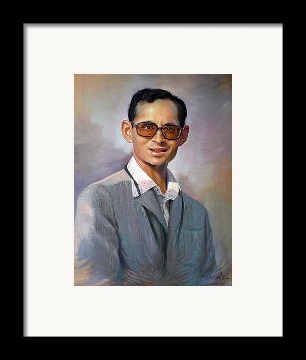 Portrait Framed Print featuring the painting The King Bhumibol by Chonkhet Phanwichien