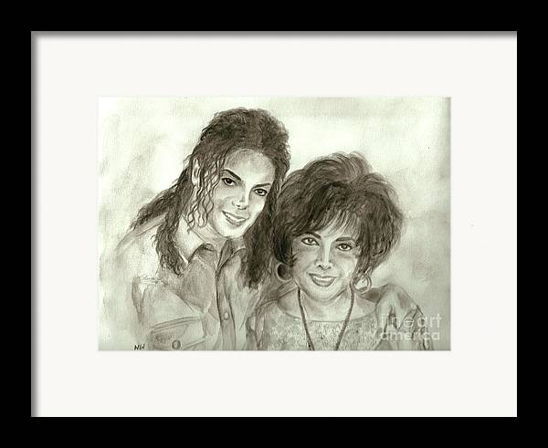 Michael Jackson Framed Print featuring the painting The King Of Pop And Elizabeth Taylor by Nicole Wang