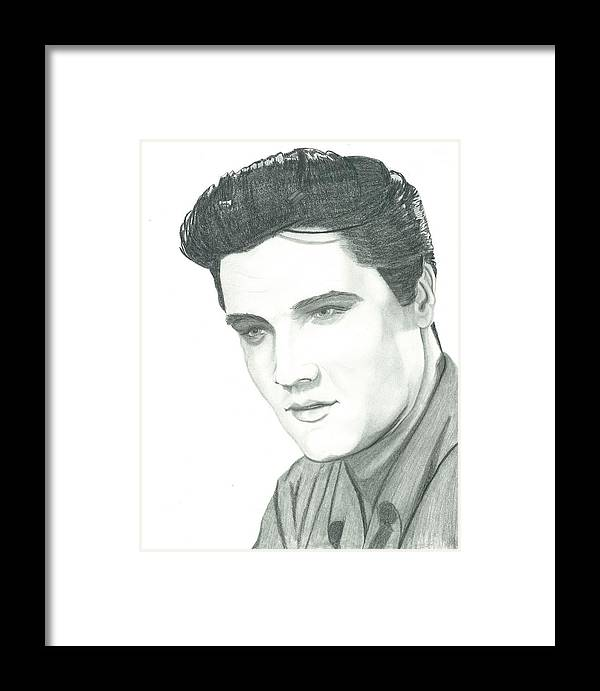 Elvis Framed Print featuring the drawing The King by Seventh Son