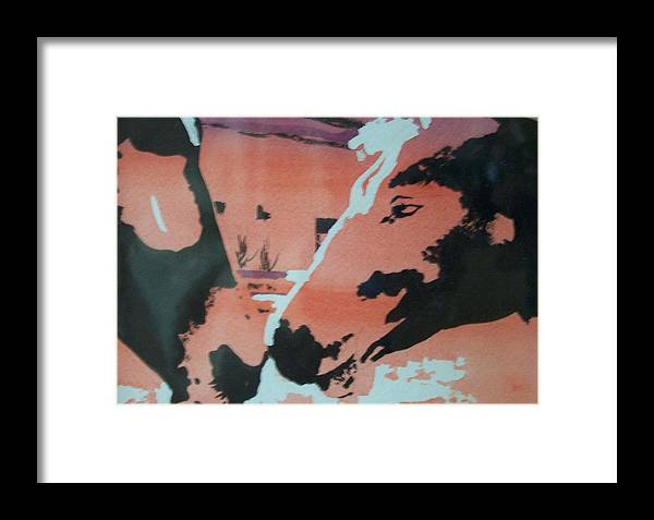Horse Framed Print featuring the painting The Kiss by Jane Hanson