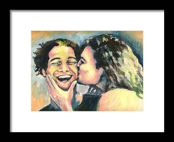 Man Framed Print featuring the painting The Kiss by Nicole Zeug