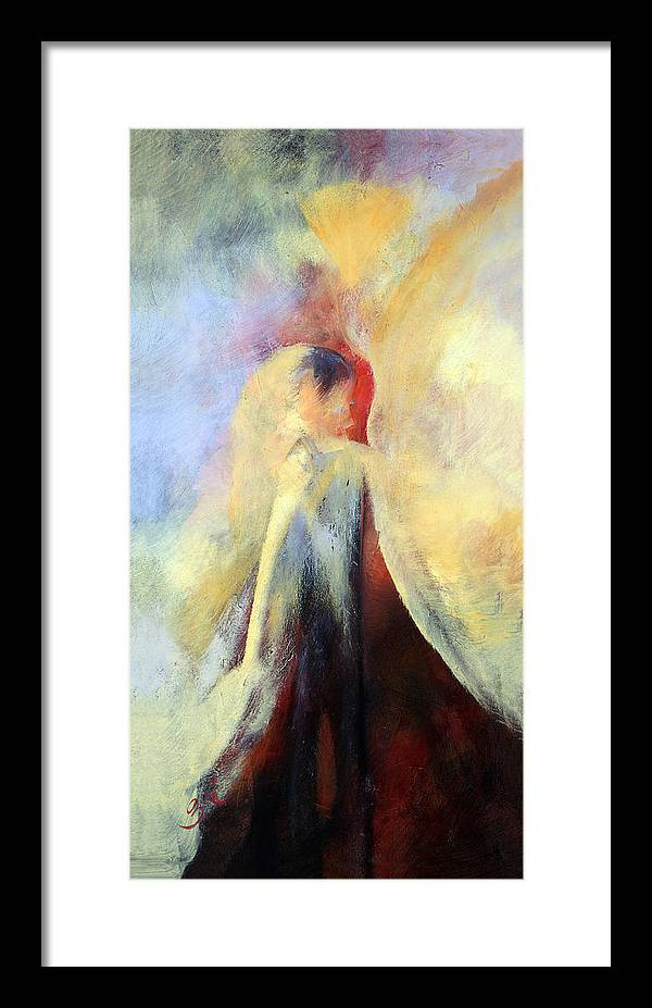 Abstract Framed Print featuring the painting The Kiss by Zoe Landria