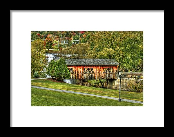 Covered Bridge Framed Print featuring the photograph The Kissing Bridge by Evelina Kremsdorf