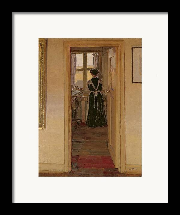 The Framed Print featuring the painting The Kitchen by Harold Gilman