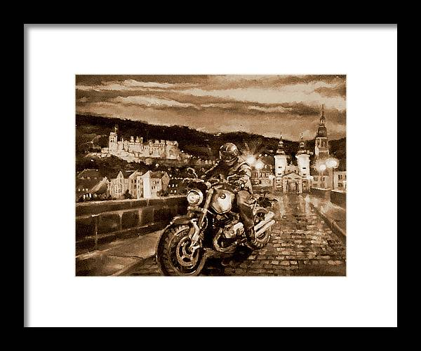 Sepia Painting Framed Print featuring the painting The Knight of Heidelberg-Sepia by BJ Lane