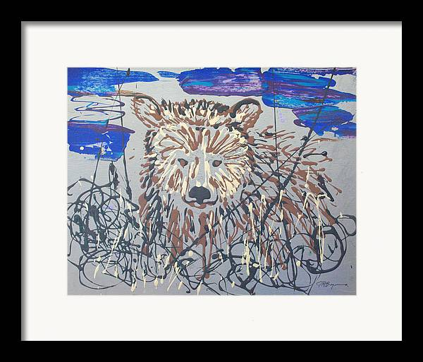 Bear In Bushes Framed Print featuring the painting The Kodiak by J R Seymour