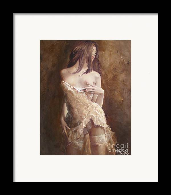 Art Framed Print featuring the painting The Laces by Sergey Ignatenko