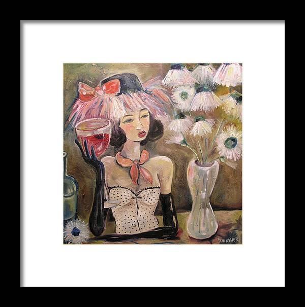 Wine Framed Print featuring the painting The Lady In The Flower Hat by Jenna Fournier
