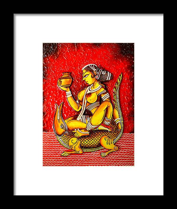 Indian Art.....crocodile Framed Print featuring the painting The Lady On Crocodile by Rupali Motihar