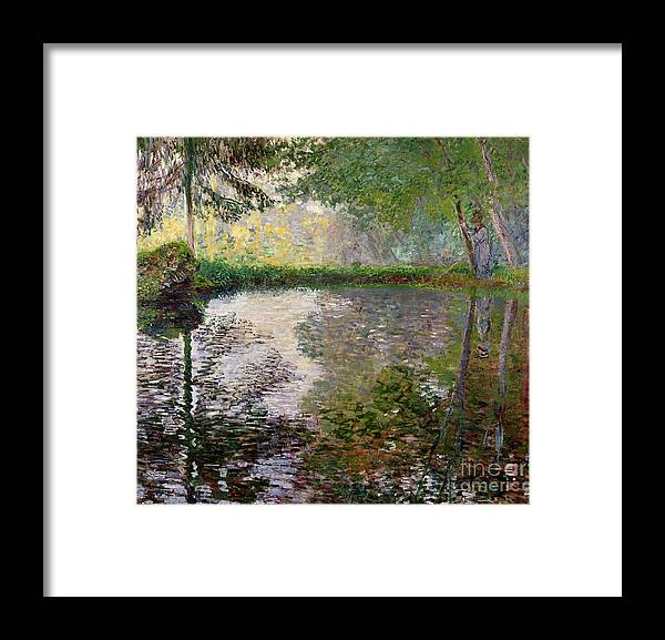 The Lake At Montgeron By Claude Monet (1840-1926) Framed Print featuring the painting The Lake at Montgeron by Claude Monet