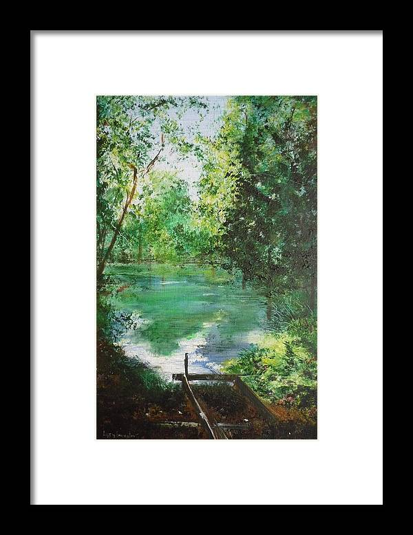 Lake Framed Print featuring the painting The Lake At Stansted Unfinished by Lizzy Forrester