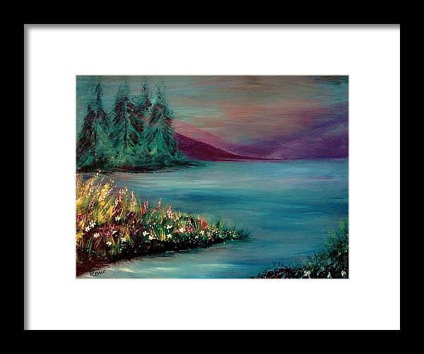 Landscape Framed Print featuring the painting The Lake by Robin Monroe