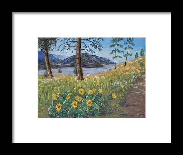 Lake View Framed Print featuring the painting The Lake Trail by Marina Garrison