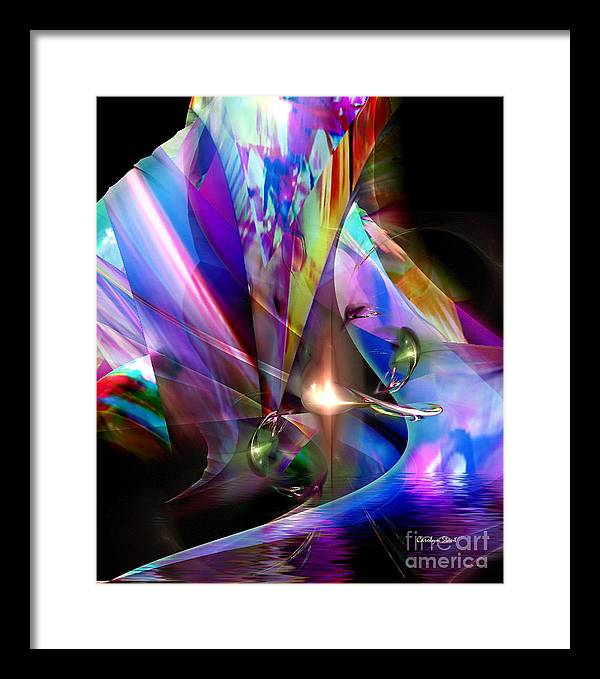 Abstract Bright Colors Digial Abstract Framed Print featuring the digital art The Lamp Light by Carolyn Staut