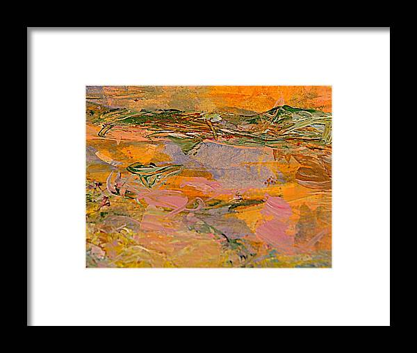 Abstract Acrylic Painting Framed Print featuring the painting The Landfill Neighborhood by Nancy Kane Chapman