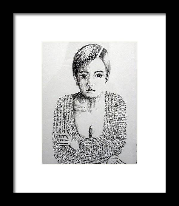 Language Framed Print featuring the drawing The Language Of Cloth by Tanni Koens