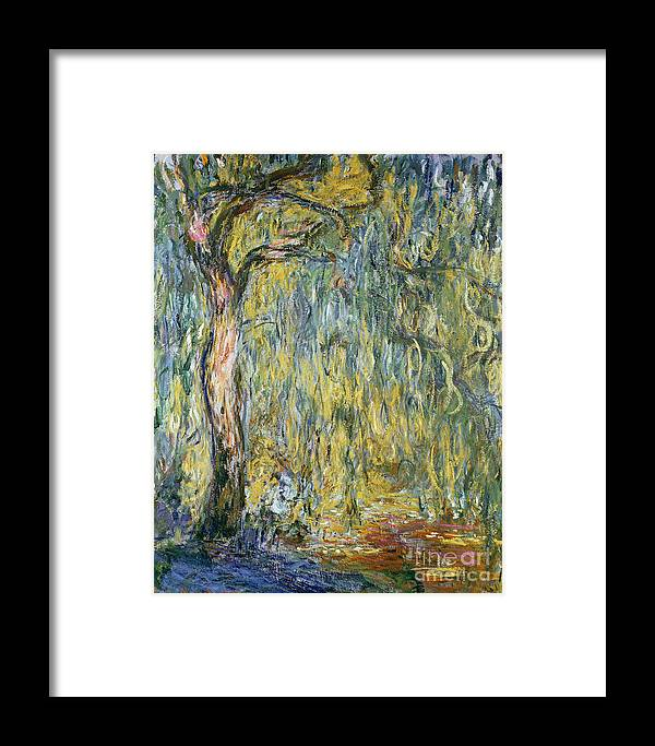 Claude Framed Print featuring the painting The Large Willow At Giverny by Claude Monet