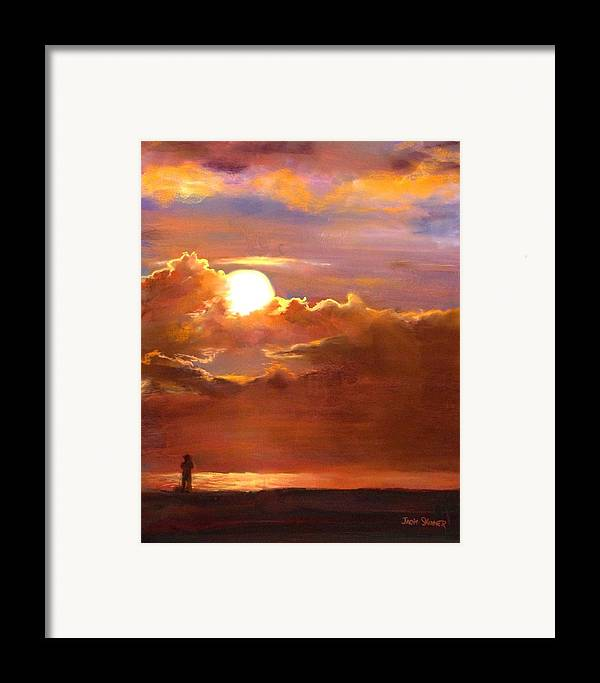 Sunset Framed Print featuring the painting The Last Cast by Jack Skinner