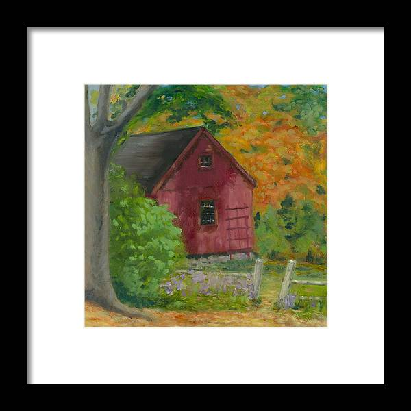 Landscape Framed Print featuring the painting The Last Days Of Autumn by Paula Emery