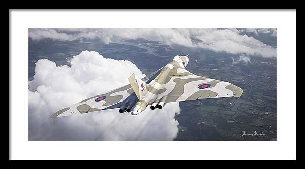 Cinema4d Aerial Air Aviation Avro British Cinema Digital Falkland Force Raf Vulcan War Antonis Xh558 Karidis Art Framed Print featuring the digital art The Last Flight Of The Vulcan by Antonis Karidis