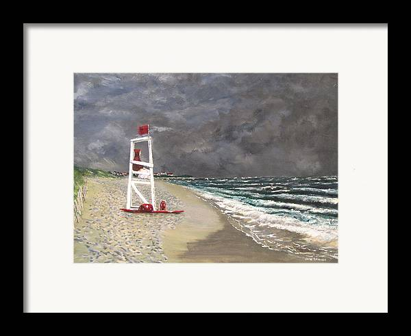 Seascape Framed Print featuring the painting The Last Lifeguard by Jack Skinner