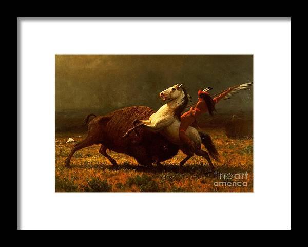 Albert Bierstadt Framed Print featuring the painting The Last of the Buffalo by Albert Bierstadt