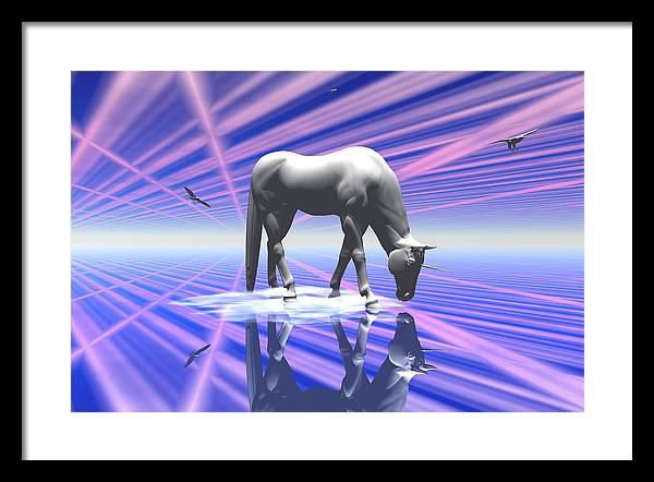 Bryce 3d Digital Fantasy Scifi Unicorn Framed Print featuring the digital art The Last Of The Unicorns 2 by Claude McCoy
