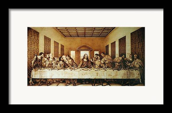 Dino Muradian Framed Print featuring the pyrography The Last Supper by Dino Muradian