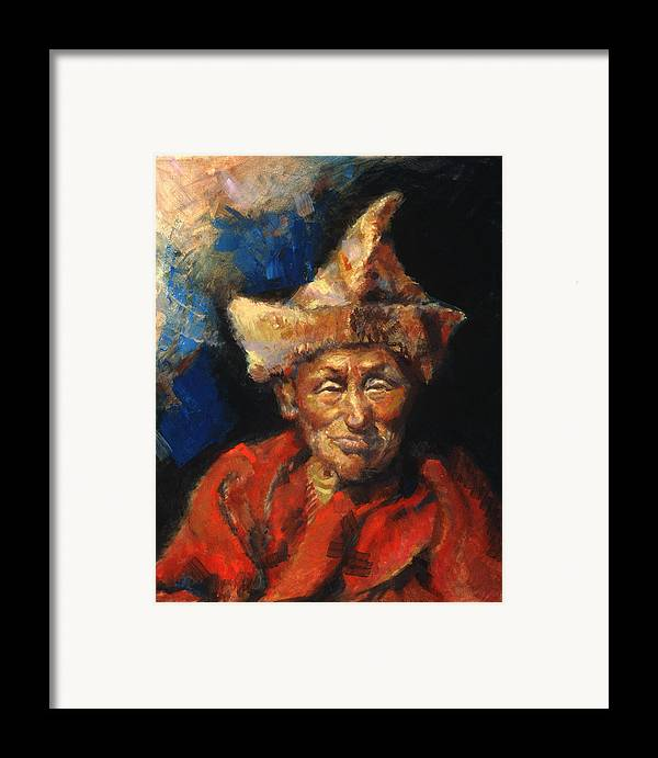 Oil Paintings Framed Print featuring the painting The Laughing Monk by Ellen Dreibelbis