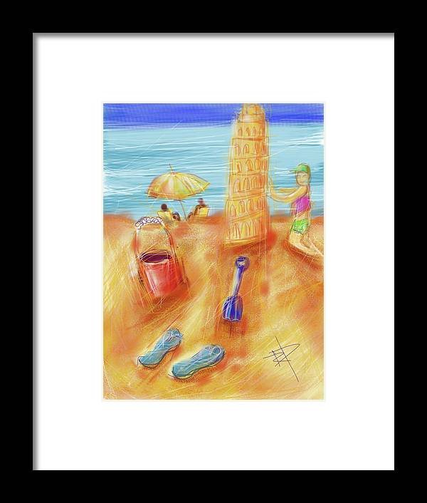 Sand Framed Print featuring the digital art The Leaning Sand Castle by Russell Pierce