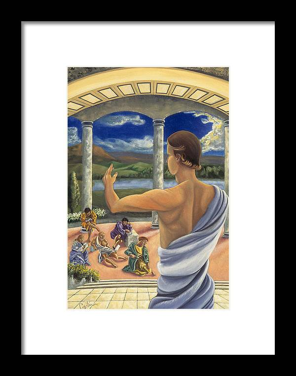 Landscape Framed Print featuring the painting The Lesson by Gloria Cigolini-DePietro