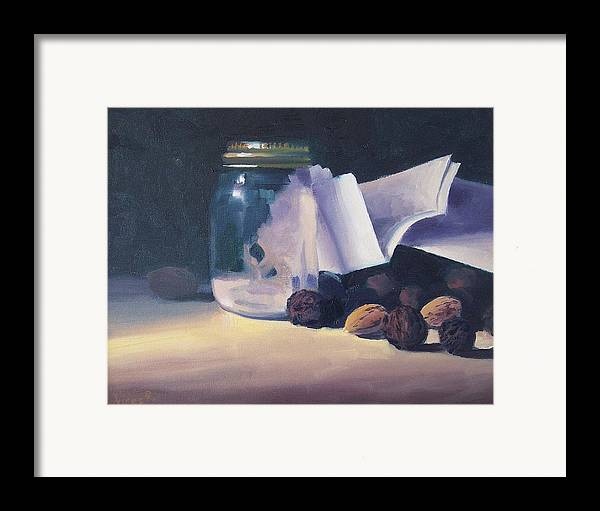 Oil On Canvas Framed Print featuring the painting The Letter by Michael Vires