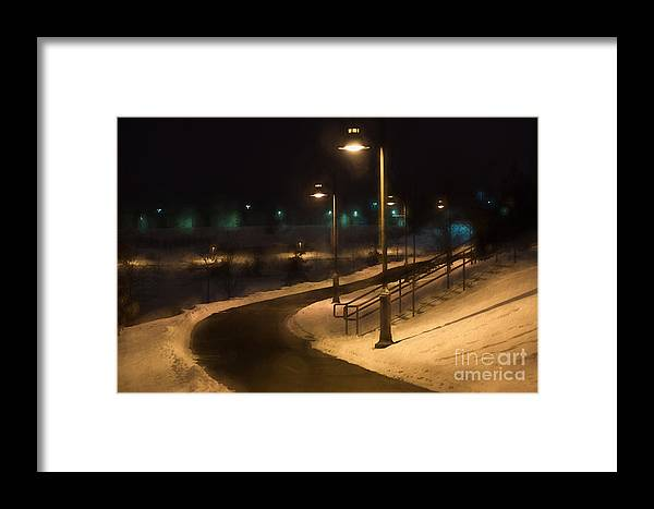 Maple Grove Framed Print featuring the digital art The Library Path In Winter by Gary Rieks