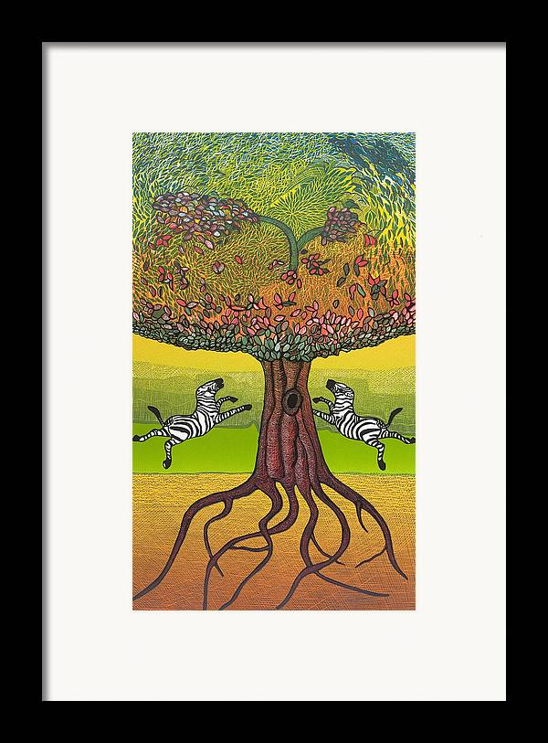Landscape Framed Print featuring the mixed media The Life-giving Tree. by Jarle Rosseland