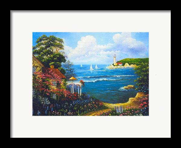 Lighthouse Framed Print featuring the digital art The Light House By The Sea by Jeanene Stein