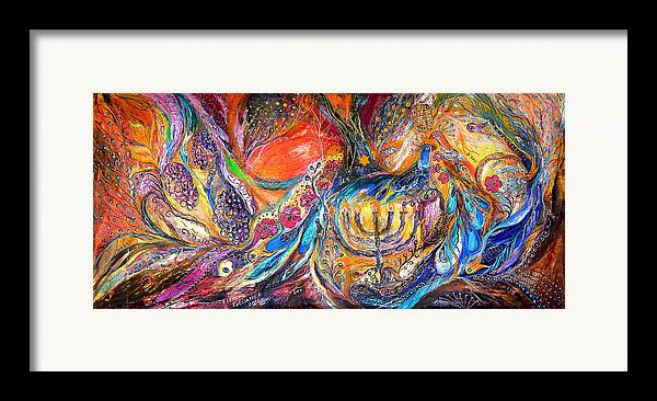 Original Framed Print featuring the painting The Light Of Menorah by Elena Kotliarker