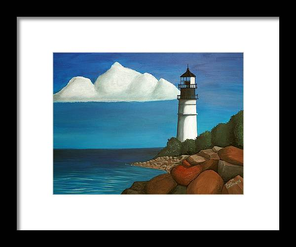 Landscape Framed Print featuring the painting The Lighthouse by Dan Leamons