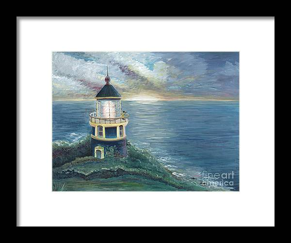 Lighthouse Framed Print featuring the painting The Lighthouse by Nadine Rippelmeyer