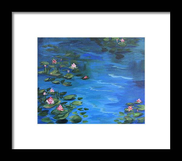 Lily Pond Framed Print featuring the painting The Lily Pond II by Torrie Smiley