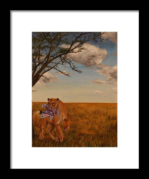 Lion Framed Print featuring the painting The Lion And The Moth by Michelle Miron-Rebbe
