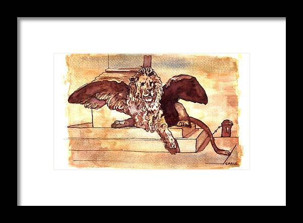 Sketch Framed Print featuring the drawing The Lion Of Venice by Dan Earle