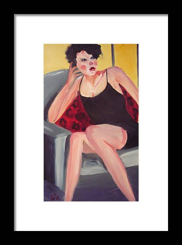 Figurative Framed Print featuring the painting The Little Black Dress by Irit Bourla