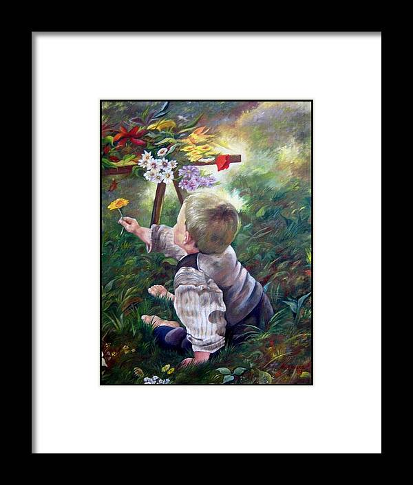 Persons Framed Print featuring the painting The Little Boy by Netka Dimoska