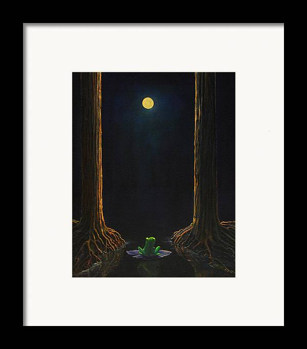 Landscape Animal Frog Trees Mystic Framed Print featuring the painting The Little Frog by Craig shanti Mackinnon
