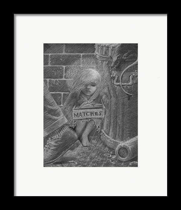 Hans Christian Andersen Framed Print featuring the drawing The Little Matchseller by David Dozier
