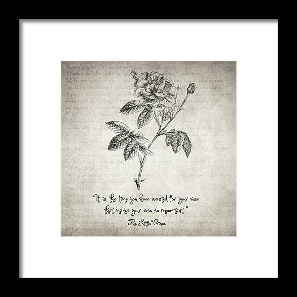 The Little Prince Rose Quote Framed Print