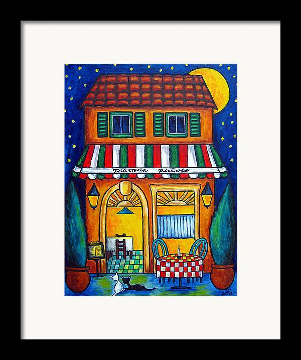 Blue Framed Print featuring the painting The Little Trattoria by Lisa Lorenz