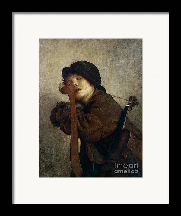 Boy Framed Print featuring the painting The Little Violinist Sleeping by Antoine Auguste Ernest Hebert
