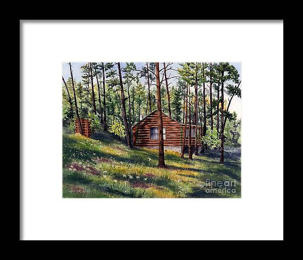 Nature Framed Print featuring the painting The Log Cabin by Mary Tuomi